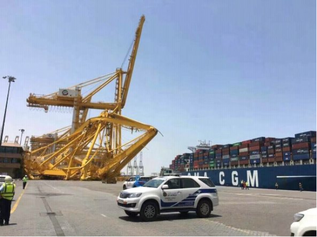 Cma cgm hits dp world in dubai ship2shore dp world confirmed to the international press that an incident occurred at terminal 1 in jebel ali port dubai after a cma cgm container vessel collided gumiabroncs Choice Image
